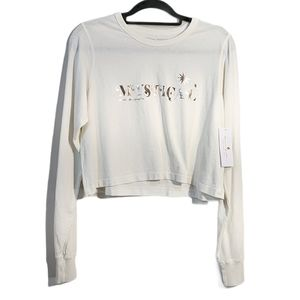 NWT Mystical Fiona Long Sleeve Crop White Tee